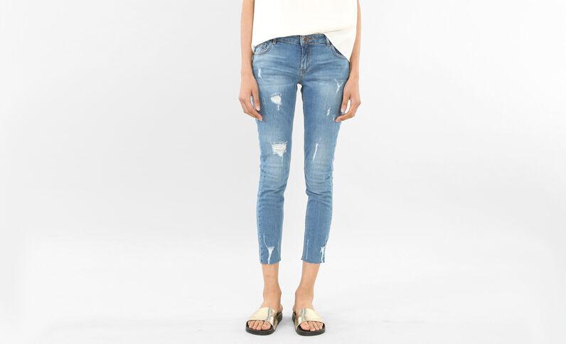 7/8-Skinny-Jeans mit Destroyed-Effekt Blau