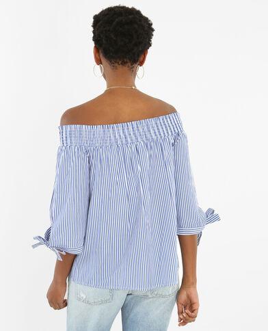 Gestreifte Bluse mit gesmoktem Halsausschnitt Altweiß
