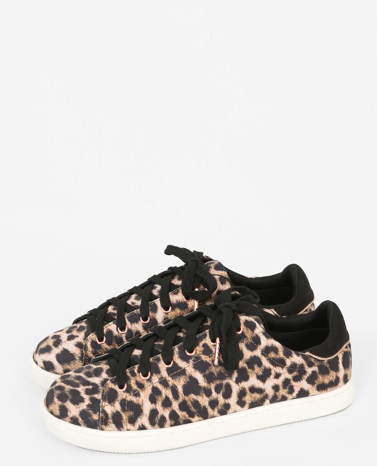 Scarpe da basket leopardate marrone