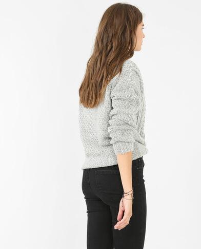 Pullover mit Zopfmuster Grau