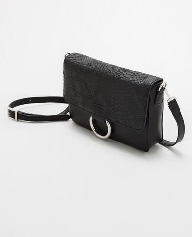 Kleine schwarze Handtasche in Kroko-Optik Schwarz