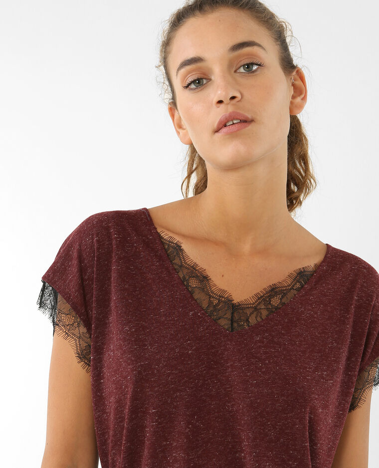 Camiseta de encaje burdeos