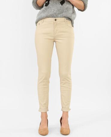 Pantalón slim beige