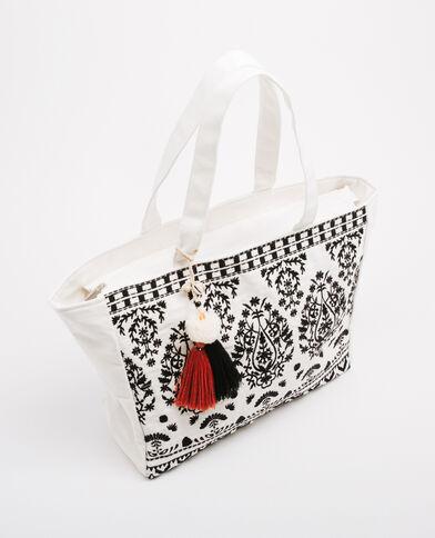 Shopper-Tasche mit Pompons Weiß