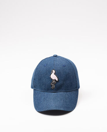 Casquette denim à patch Bleu