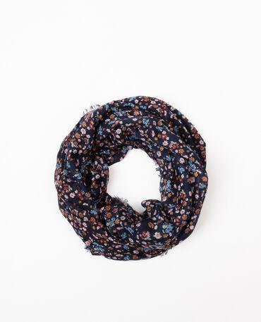 Schlauchschal aus Tuch mit Blumenmotiv Marineblau