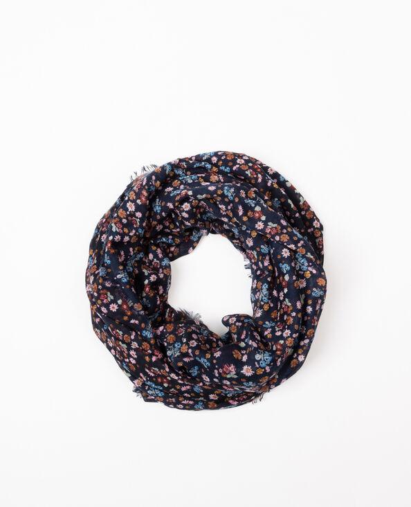 Foulard col fleuri bleu marine