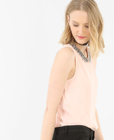 Top fluide bijoux rose
