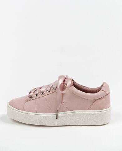 Scarpe da basket lacci satinati rosa cipria