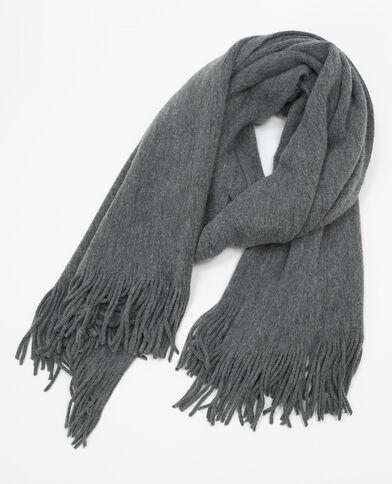 Bufanda cálida con flecos gris