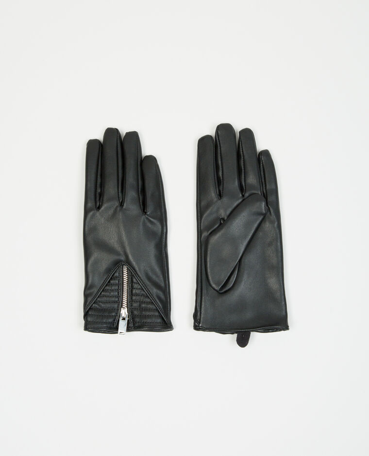 Gants biker zippés noir