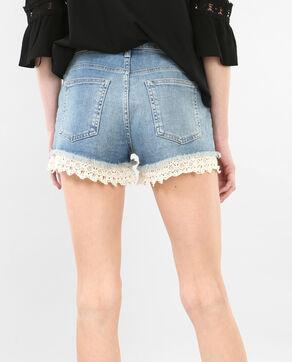 Jeans-Shorts mit Gipürespitze Blau