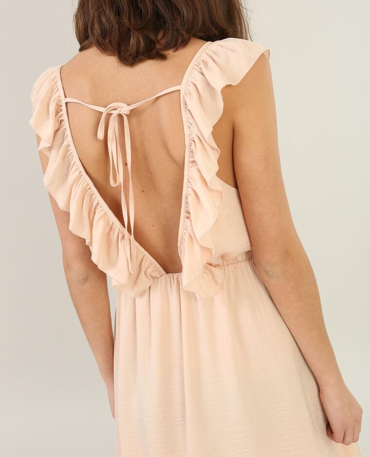 Rückenfreies Kleid mit Rüsche Zartrosa