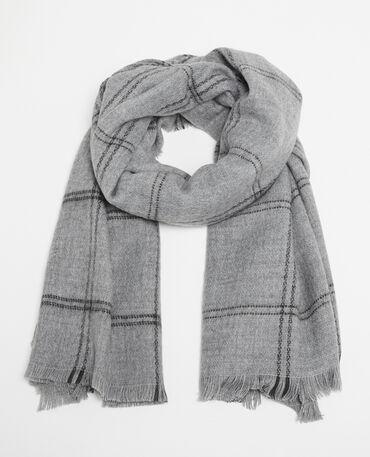 Bufanda cálida de cuadros gris