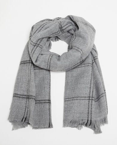 Warmer Schal mit Karomuster Grau