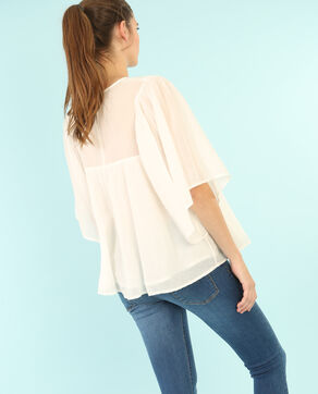 Blusa bordada color crudo marfil
