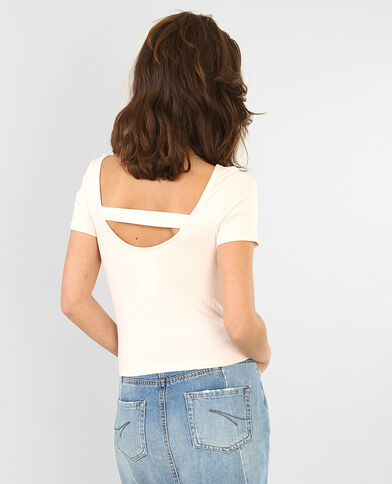 T-shirt cropped côtelé rose