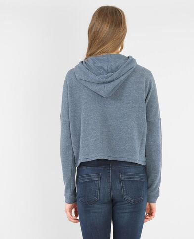 Bedrucktes Sweatshirt mit Kapuze Blau