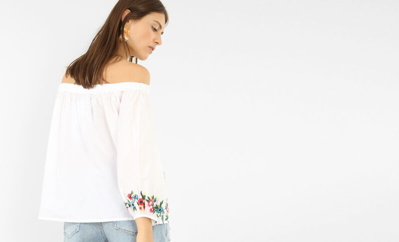 Gestickte Bluse mit Bardot-Ausschnitt Weiß
