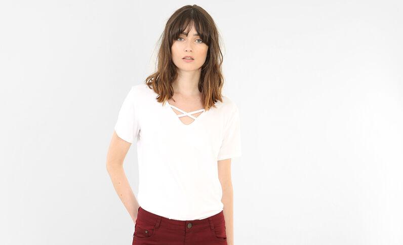 T-Shirt mit gekreuztem Halsausschnitt Naturweiß