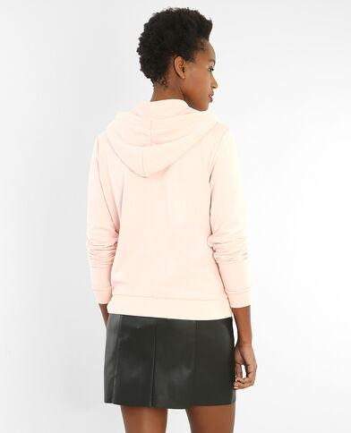 Sweater met rits en kap Roze