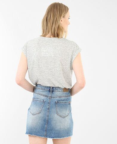 T-shirt met sieraadkraag gemêleerd grijs