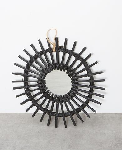 Kleiner Spiegel mit Rattanrahmen Schwarz