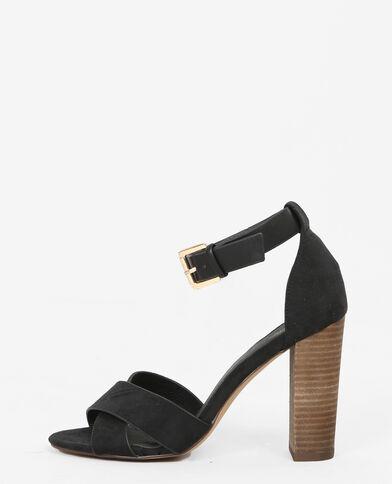 Sandaletten mit gekreuzten Riemchen Schwarz