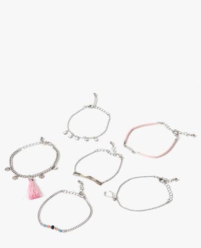 Lot de 6 bracelets gris argenté