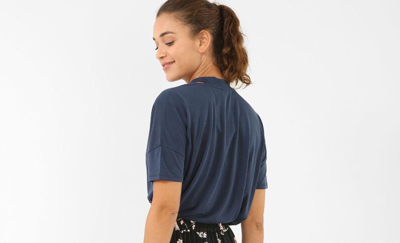 T-Shirt mit Choker-Kragen Marineblau