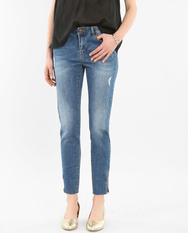 Jean skinny raw cut zippé bleu denim
