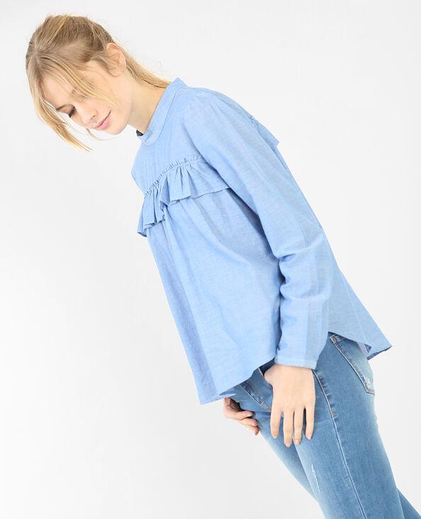 Blusa con volantes azul