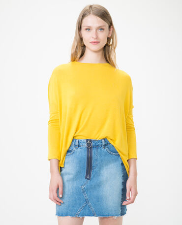 Pull fin jaune moutarde