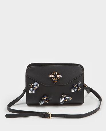 Petit sac boxy à perles noir