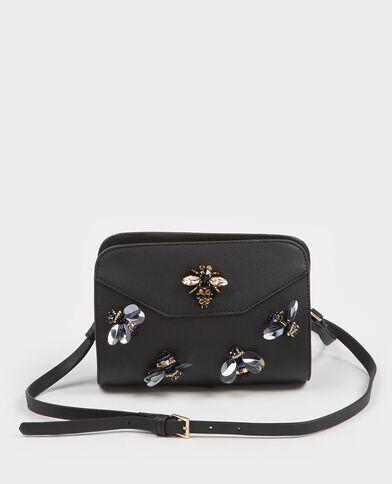 Boxy tasje met parels zwart