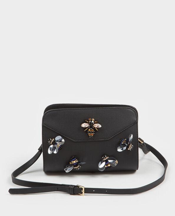 Kleine boxy Tasche mit Perlen Schwarz
