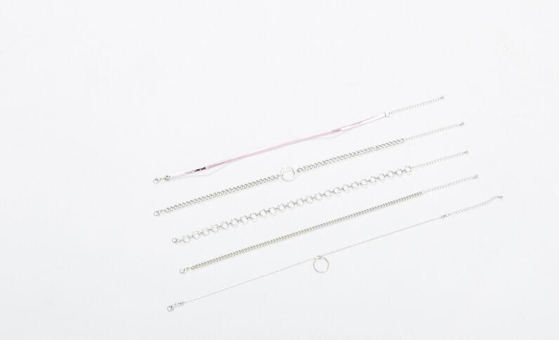 5er-Set Halsketten Rosa