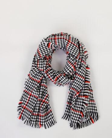 Maxi-Schal mit Hahnentrittmuster Naturweiß