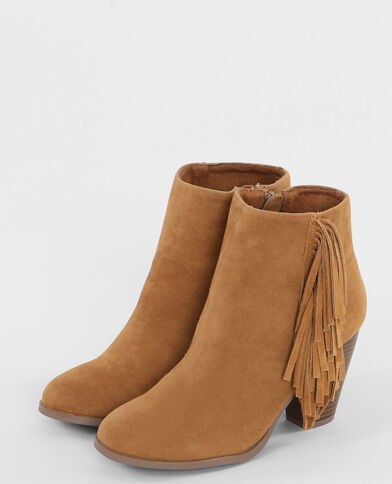Bottines frangées marron