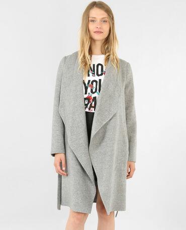 Langer Mantel Grau meliert