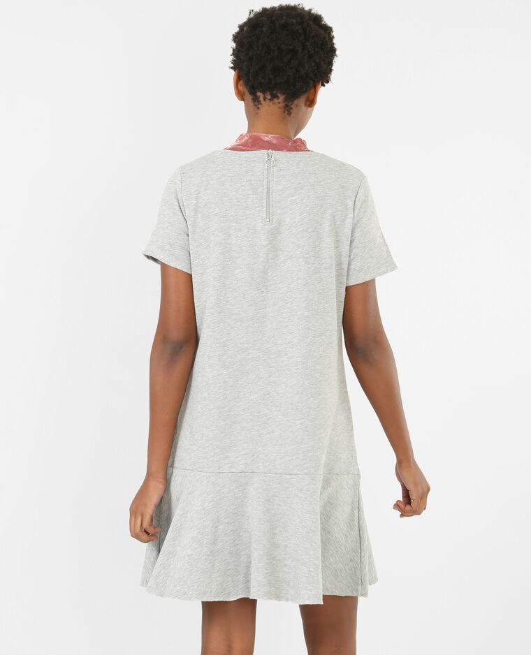 Sweatshirt-Kleid mit Schößchen Grau meliert