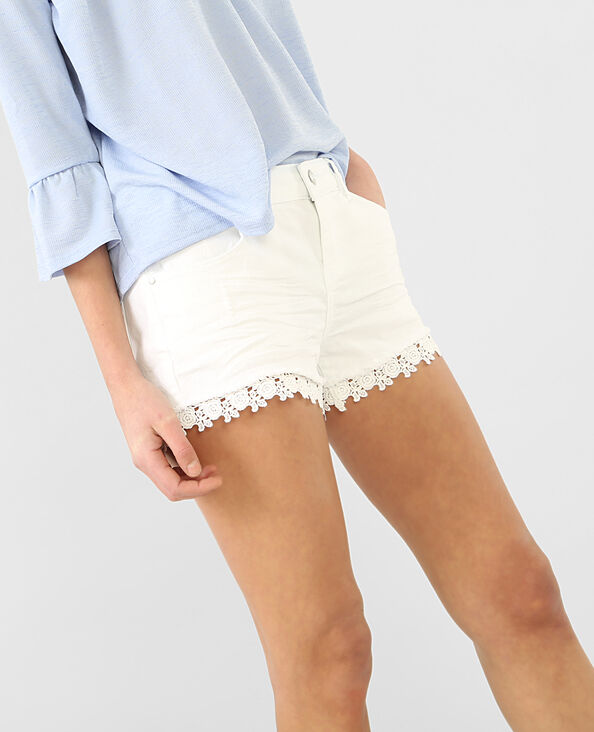 Shorts aus Gipürespitze Weiß