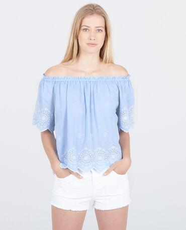 Blouse beachwear à broderies bleu ciel