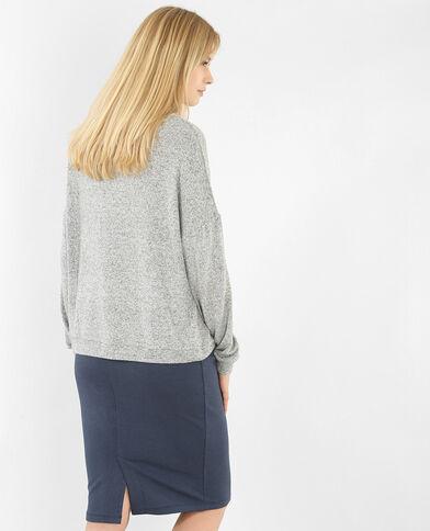 Sweater met opstaande kraag gemêleerd grijs