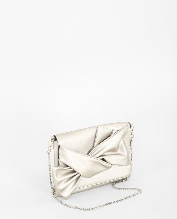 - Flache Handtasche mit Schleife. Silber