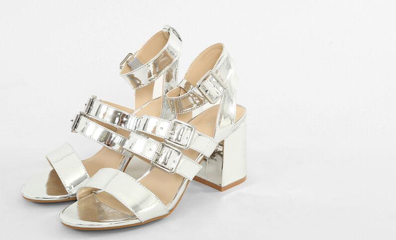 Sandali argentati con tacchi quadrati grigio paillettato