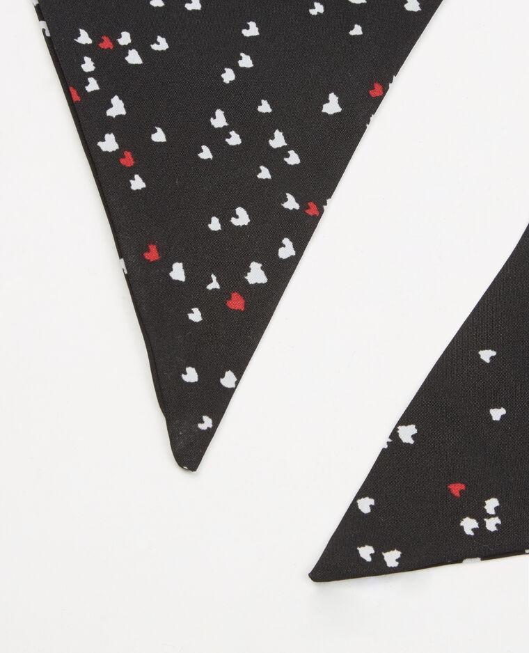 Foulard cravatta cuori nero