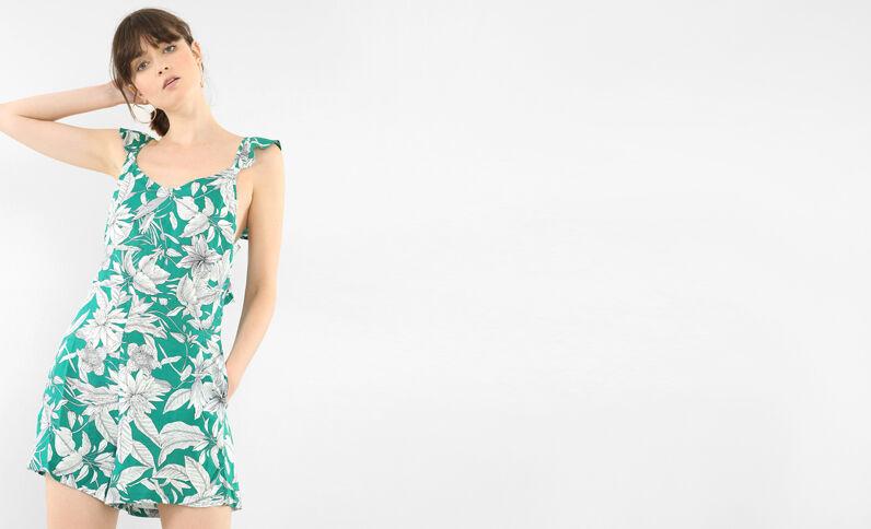 Rückenfreie Kombi-Shorts mit Rüsche Grün