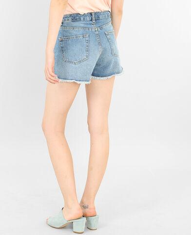 Short in jeans stampa colibrì blu