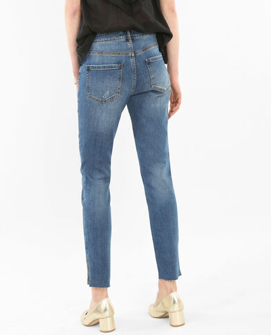 Jeans skinny raw cut con zip blu denim